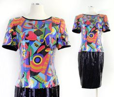 de5bd7d9ead Vintage 80s Abstract Print Silk Sequined Women s Dress - Colorful Short  Sleeve Knee Length Silk Party Dress - Size 10 Medium