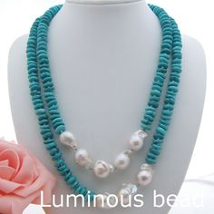 AB051903 44'' White Keshi Pearl Rondelle Turquoise Long Necklace #Unbranded #StrandString