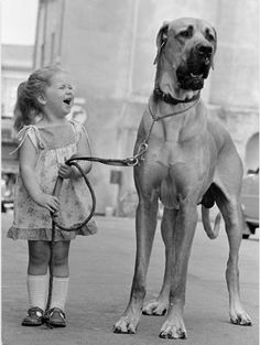 """Great Dane and Little Girl"" 