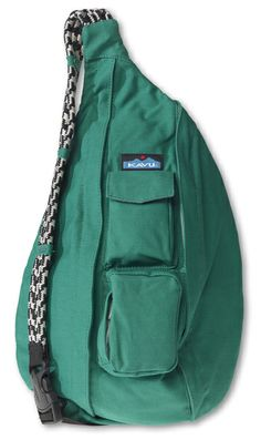 KAVU Rope Bag-Spearmint-100% Cotton Canvas.  The KAVU Rope Bag is by far the most popular bag in our line.  People ages 5-95 love the design and practicality of our Rope Bag.  Adjustable shoulder strap, two vertical zip compartments, two zip/key pockets, padded back with KAVU embroidery and ergonomic design to fit the body like a bag should.  Dimensions:  20