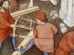 Working a bow saw The Reconstruction of Rome. Early 15th century. Detail. Bibliothèque nationale de France, Département des manuscrits, Français 263, fol. 113.