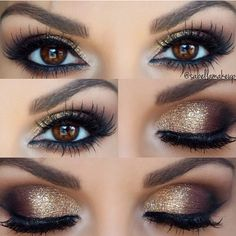 Gold Smokey Eye ❤ liked on Polyvore featuring beauty products, makeup, eye makeup, eyes, holiday makeup, sparkle makeup, eye shimmer makeup, gold cosmetics and glitter makeup