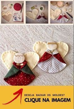 Moldes de Anjos Feitos com Retalhos de Tecido para Natal #natal #tecido #anjo #feltro