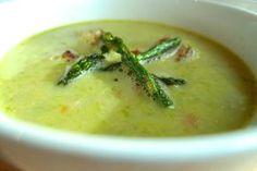 ASPARAGUS SOUP -  2 lb. asparagus, 3 T olive oil, 1 leek, 2 stalks celery, 1 shallot, 1 carrot, 2 cloves garlic, 4 C reduced-sodium chicken broth, 1 C water, 1/2 C evaporated 2% milk, 1 tsp lemon juice, Salt & pepper