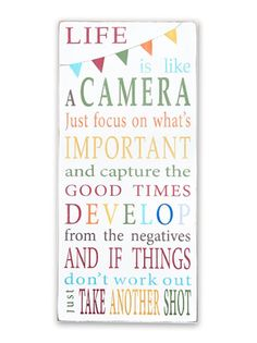 life is like a camera - any room,bunting,beach and lake house signs signs - Wall Decor from Barn Owl Primitives