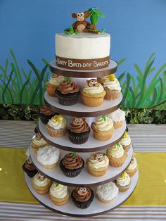 Monkey Cupcake Tower