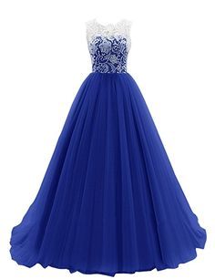 Dresstells Women's Long Tulle Ball Gowns Wedding Dress Evening Formal Party Maxi Dress Royal blue Size 12