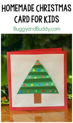 Homemade Christmas Card Craft for Kids: Accordion folded paper Christmas tree ~ BuggyandBuddy.com