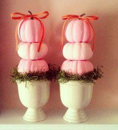 Pink pumpkin topiary