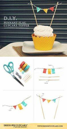 Best Ideas For Diy Wedding Cake Topper Washi Tape Diy Cupcake, Cupcake Cakes, Fondant Cupcakes, Baby Cupcake Toppers, Cupcake Flags, Cake Bunting, Flag Cake, Diy Cake Topper, Washi Tape Diy