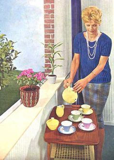 Pastel service by Petrus Regout from the 60s