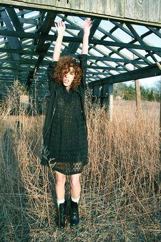 Vintage Crochet Dress, Pink1988 Cardigan, Dr. Martens Boots