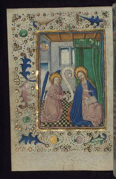 inated Manuscript, Book of Hours in Dutch, Annunciation, Walters Manuscript W.918, fol. 13v