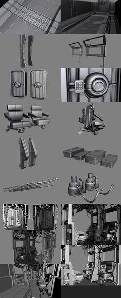 Sci-Fi Train Interior - Models by ThornedVenom Spaceship Interior, Futuristic Interior, Game Level Design, Game Design, Sci Fi Environment, Environment Design, Hard Surface Modeling, 3d Modeling, Surface Art