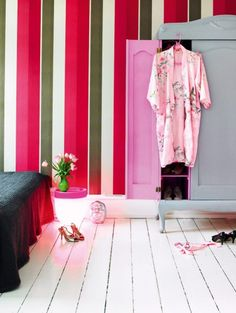 pink striped wall