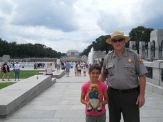 Ollie made friends with a park ranger at the National Mall. This park is over 1000 acres in size.