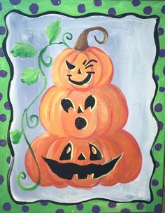 Easy canvas painting for beginners step by step. Learn how to paint a pumpkin topiary painting on canvas! Paint this and more fall canvas paintings! Pumpkin Canvas Painting, Halloween Canvas Paintings, Halloween Painting, Autumn Painting, Easy Paintings, Acrylic Painting Canvas, Diy Painting, Painting Tutorials, Halloween Art