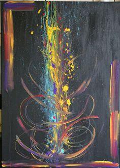 Tableau Abstrait Acrylique - Gde Toile Aux 4 couleurs - Châssis 50 x 60 cms : Peintures par mimipeint