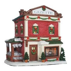 St Nicholas Square Gazette Lighted Christmas Village Building ** This is an Amazon Affiliate link. Be sure to check out this awesome product.