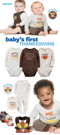 Celebrate baby's 1st Thanksgiving in style! Easy outfit sets, 3-piece sets with bottom art, sleep & play, bibs (for digging in!) and more.