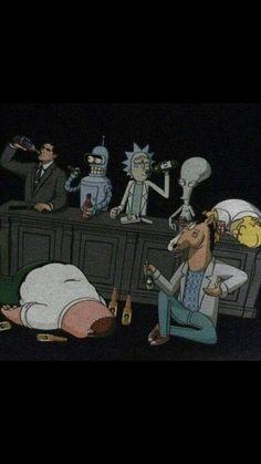 Who wins drinking contest? Cartoon Kunst, Cartoon Art, Cool Wallpaper, Iphone Wallpaper, Rick And Morty Crossover, Rick And Morty Poster, Dope Wallpapers, Bojack Horseman, Cartoon Crossovers