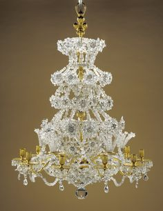 Crystal flowers! Chandelier; Unknown; Paris, France; about 1700; Glass and quartz crystal; gilt bronze; 107 x 62.5 cm (42 1/8 x 24 5/8 in.); 88.DH.17