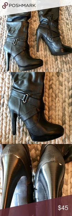 I.N.C. International Concepts black boots 8.5M Gorgeous boots!  8.5M  They are really very comfortable to wear!  A little scuffing on the heel (see pic). These are all man made material. I.N.C. Shoes Heeled Boots
