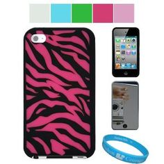 Premium Zebra Design Protective Soft Silicone Skin Cover for Apple iPod Touch 4th Generation   Mirror Screen Protector for iPod Touch 4th Generation   SumacLife TM Wisdom Courage Wristband, Hot Pink Zebra
