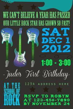 Guitar Rock Star Birthday Invitation - Printable - 4x6. $10.00, via Etsy.