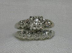 vintage wedding ring set ornate 1940s white gold illusion head