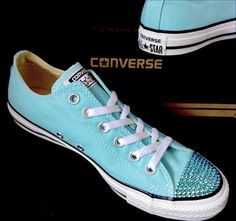 Ladies Womens Canvas Teal Turquoise Blue Classic Low Top Converse Swarovski CRYSTAL Rhinestone Chuck Taylor All Star Sneakers Shoes