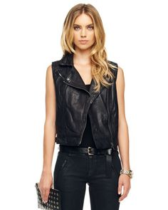 Leather Motorcycle Vest I think Yes. Esp. with sequinned pencil skirt. I think Hell Yes.