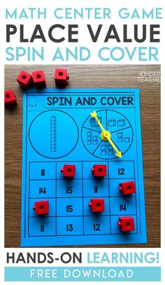 Value Math Centers Grab this place value freebie! Students spin the spinner and cover the number.Grab this place value freebie! Students spin the spinner and cover the number. Place Value Activities, Math Place Value, Place Values, Math Activities, Math Stations, Math Centers, Maths Display, Math Tubs, Teen Numbers