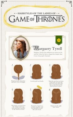 Margaery Tyrell`s Hairstyle: How to Guide. The page has the others too. Enjoy.