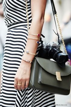 Stuff She Likes: NYFW Look 1... Balck and White Stripes.