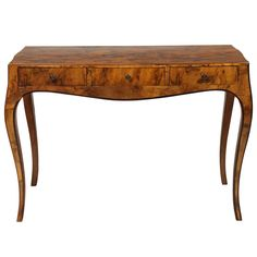 Early 20th Century Italian Olive Wood Console or Desk   From a unique collection of antique and modern console tables at https://www.1stdibs.com/furniture/tables/console-tables/