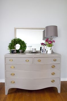 Vintage dresser Annie Sloan French linen paint. Would love to refinish my dressers in this color