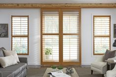 Our Plantation shutters not only look stunning on windows but also on French doors. Match the shutters on your windows and doors for a cohesive look Rustic Window Treatments, Window Treatments Living Room, Living Room Windows, Vinyl Shutters, Interior Shutters, Window Shutters, Faux Wood Plantation Shutters, Best Interior Design Websites, Interior Design Institute