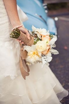 White and peach flower bouquet (along the lines of what I'm thinking)