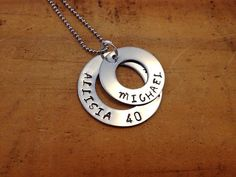 Personalised Hand stamped Stainless Steel Stacked Round Hoops / washer pendant Necklace - Mothers day gift, Jewellery, family, children via Etsy