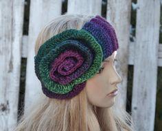 Headband with Flower Crochet Headband Wide Turban Winter by Degra2