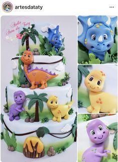 Pig Birthday Cakes, Dinosaur Birthday Cakes, Dinosaur Party, Dinosaur Cake Toppers, Dino Cake, Die Dinos Baby, Festa Toy Story, Fondant Animals, Animal Cakes