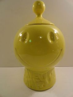 Mccoy Cookie Jar Values Vtg 1970S Retro Smiley Face Yellow Have A Happy Day Mccoy Cookie Jar