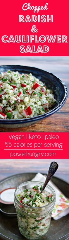 Chopped Radish & Cauliflower Salad--it's (keeps several days) and only 55 calories per big serving! You will love the peppery crunch! Paleo Recipes Easy, Rice Recipes, Vegetable Salads, Easy Summer Salads, Cauliflower Salad, Winter Salad, Chopped Salad, How To Make Salad, Dressings