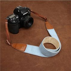 Simple Clean Cowboy Red and Light Blue Handmade Leather DSLR Camera Strap 7154/7155