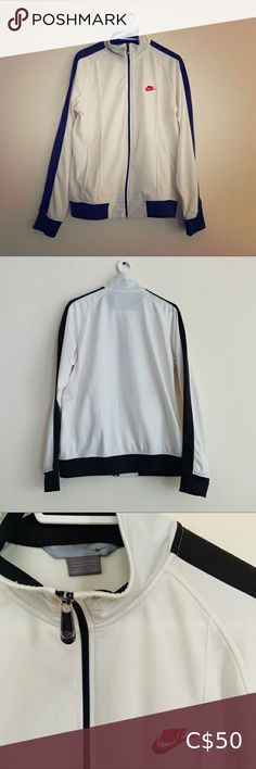 """NIKE Full-Zip Jacket (Dark Brown/Off-White) Brand: Nike Size: Large (Pit to Pit: 21"""") Condition: Gently Preowned Colour: Off White and Brown Style: This jacket comes with 2 side pockets. *There is a small barely noticeable """"nap"""" on the lower front of the jacket* (See Pic #4) Nike Jackets & Coats Performance Jackets Nike Sports Jacket, Nike Track Jacket, Nike Jacket, Brown Fashion, Plus Fashion, Fashion Tips, Fashion Trends, Mens Lightweight Jacket, Navy Blue Pencil Skirt"""