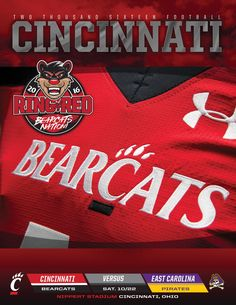 The 2016 Cincinnati Football Roster Card vs. East Carolina features both team's depth charts and statistical leaders.@gobearcats