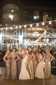 mix and match bridesmaids dresses long metallic sequin bridesmaid gowns neutral sparkly bridesmaids Sparkly Bridesmaids, Mismatched Bridesmaid Dresses, Wedding Bridesmaids, Wedding Attire, Wedding Dresses, Bridesmaid Gowns, Champagne Sequin Bridesmaid Dresses, Art Deco Bridesmaids, Gold Brides Maid Dresses