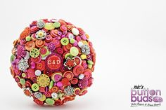 Bright coloured Button Bouquet by Nic's Button Buds, wedding bouquet, hot pink, orange, lime green, yellow, white, bride bouquet, alternative bouquets, Melbourne, Australia