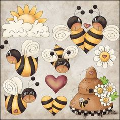 Bee Boppin' 1 Clip Art Set - Click Image to Close Clipart, Graphic Illustration, Illustrations, Embroidery Designs, Owl Clip Art, Digital Stamps, Digital Papers, Digital Scrapbooking, Pintura Country
